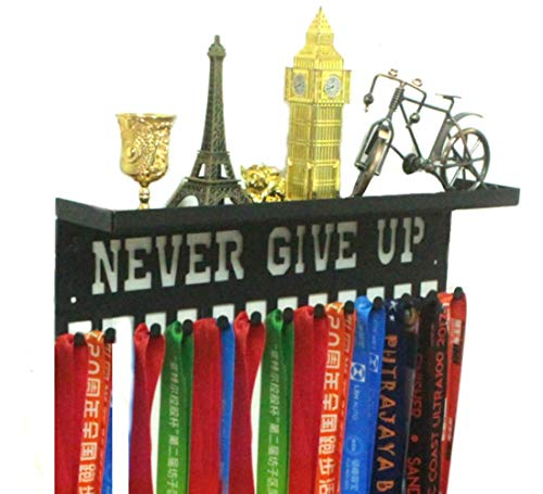 URBN Metal Wall Mount 'Never Give Up' Motivational Kids & Adults Sports Medal Hanger and Ribbon Display Holder Rack with 3