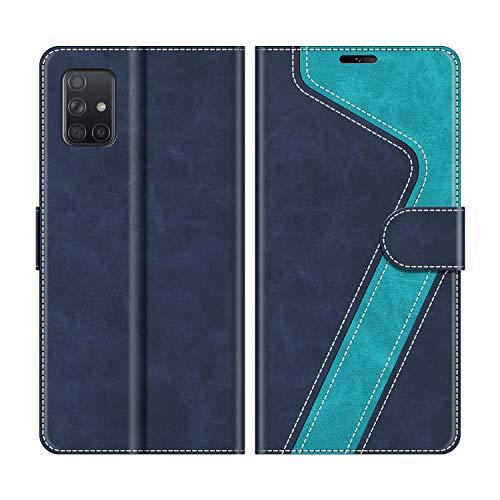 MOBESV Handyhülle für Samsung Galaxy A51 Hülle Leder, Samsung Galaxy A51 Klapphülle Handytasche Case für Samsung Galaxy A51 Handy Hüllen, Modisch Blau