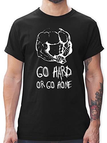 Fitness & Workout - Go Hard or go Home - XL - Schwarz - Tshirt Gewichtheben - L190 - Tshirt Herren und Männer T-Shirts