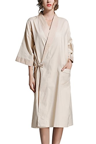 Dolamen Unisex Mujer Hombre Vestido Kimono Lino de Algodon, Camisón para Mujer, Robe Albornoz Dama de Honor Ropa de Dormir Pijama, Busto 130 cm, 51,18inch (Beige)