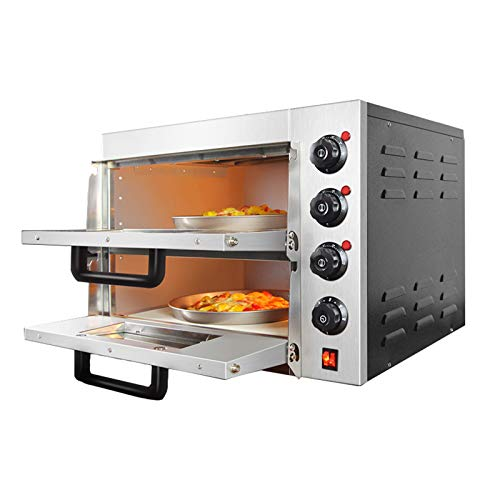 INTBUYING Pizza Oven Toaster Commercial Bread Machine Stainless Steel Double Electric Countertop for Household/Restaurant 3KW