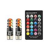 DAXINYANG Colorful Linght Coche llevó W5W T10 12SMD RGB COB Liquidación Luces de Modo Multi Colorido del Coche de Las Bombillas con el regulador alejado (Emitting Color : One Set RGB)