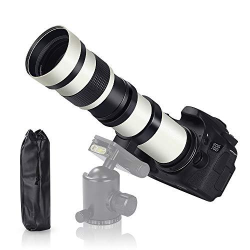TYCKA 420-800mm f/8.3 DSLR Camera Lens Ultra-Telephoto Lens Manual Zoom Shooting The Moon and Bird Telescope SLR Lens for Canon T-Mount EOS Rebel T3-T7i SL1 SL2 5D-7D 60D-80D II/III/IV