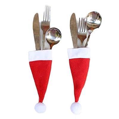 ErYao Christcmas Santa Hats Silverware Holders - Xmas Party Dinner Table Dinnerware Decorations Santa Claus Hat Silverware Pocket Holders, Set of 24/36 (red 24pc)
