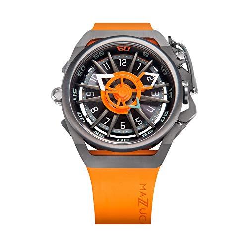 Mazzucato Orologio da uomo reversibile automatico e cronografo con cinturino in gomma Fkm Arancione GT 05-or5555