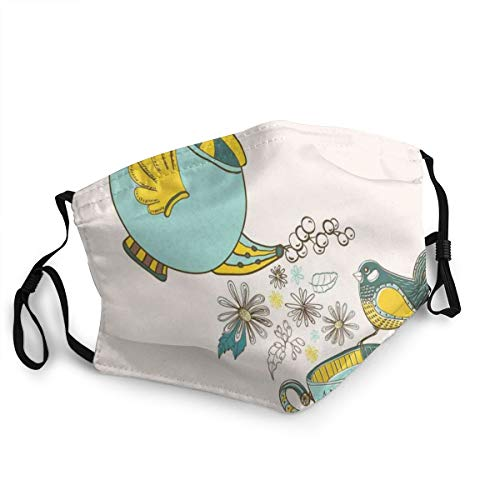 ETHAICO Fillter Face Cloth for Mens and Womens,Bird Drinking Winged Teapot Alice in Wonderland Style Friends Flowers Spring,Cold Mouth Dustproof Double Protection