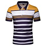 GREFER Men Polo Shirts New Short Sleeve Stripe T-Shirts Casual Button-Down Shirt for Men Yellow