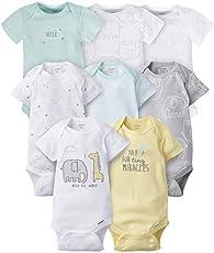 Gerber Baby 8-Pack Short Sleeve Onesies Bodysuits, Animals Green, Preemie