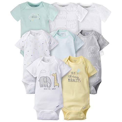 Gerber Baby 8-Pack Short Sleeve Onesies Bodysuits, Animals Green, 0-3 Months