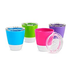 Set includes (4) cups with removable press fit training lids Modern, bright design with white accents (4 colors included) Cups nest together for easy storage 7 ounce capacity for juice, milk and water BPA free, top rack dishwasher safe, 18+ months Th...