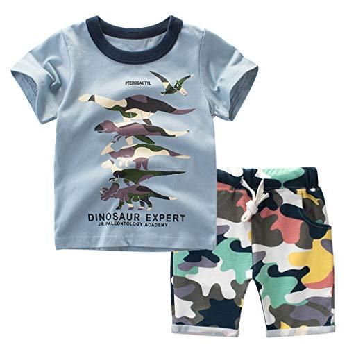 Bekleidungsset Sommer Babykleidung Kinder Baby Jungen Cartoon Tier T-Shirt Tops +Shorts Hosen Outfits Set Kleidungsset Neugeborenen Baby Kleidung Set (110, Blau 1)