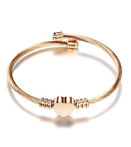 MiniJewelry Love Heart Cuff Bracelet for Women Girls Stainless Steel Heart Cuff Bracelet Friendship BFF, Adjustable Rose Gold Heart Bracelet