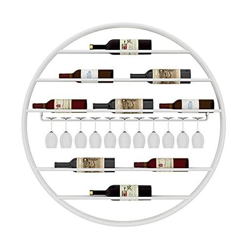 Estante de vino de metal montado en la pared, soporte de vidrio para copas de botellas, estante para vino, barra de gabinete para 7...