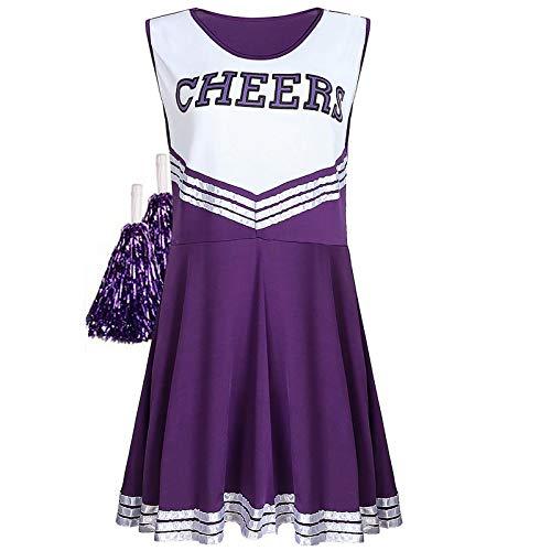 Sakurio Cheerleader-Outfit für Damen, American Musical Sport, High School, Halloween, Cheerleader-Kostüm mit Pompons Gr. X-Large, violett
