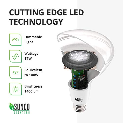 Sunco Lighting 10 Pack BR40 LED Bulb, 17W=100W, Dimmable, 5000K Daylight, E26 base, Indoor Flood Light for Cans - UL & Energy Star