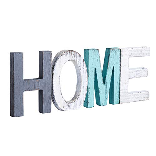 Y&Me Rustic Wood Home Sign, Decorative Wooden Block Word Signs, Freestanding Wooden Letters, Rustic...