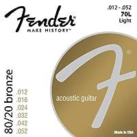 Fender アコースティックギター弦 80/20 Bronze Acoustic Strings, Ball End, 70L .012-.052
