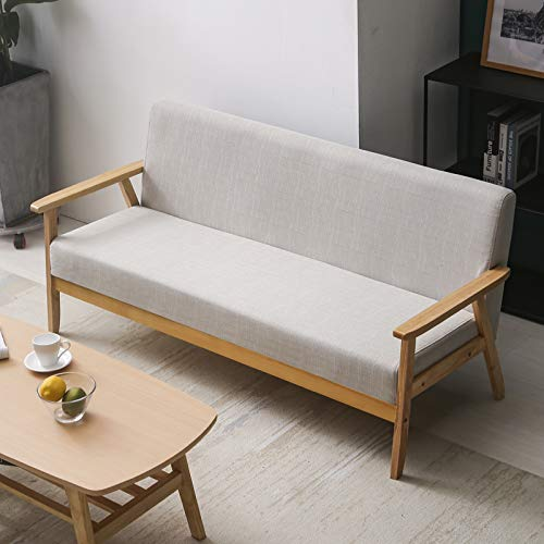 Small Apartment Simple Modern Sofa New Pastoral Fabric Double Single Living Room Solid Wood Japanese Style Simple Sofa Chair