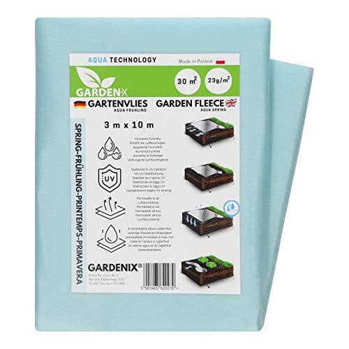 GARDENIX® 30 m² Vellón de protección contra Congelación para Primavera, Alta estabilización UV, Permeable al Agua, Cubierta de Primavera para Plantas (3m x 10m)