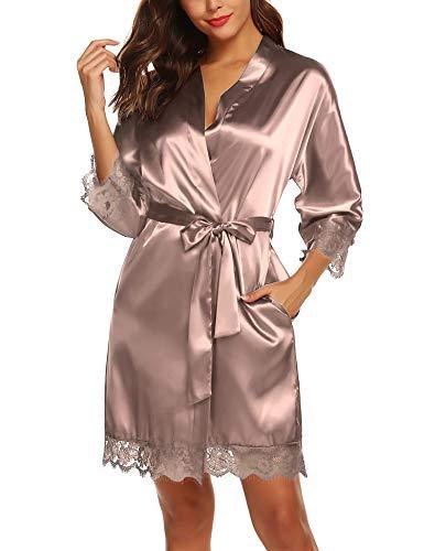 BESDEL Damen Lange Kimono Robe Seide Morgenkleid Satin Nachtwäsche Pyjama Bademantel Taupe M.