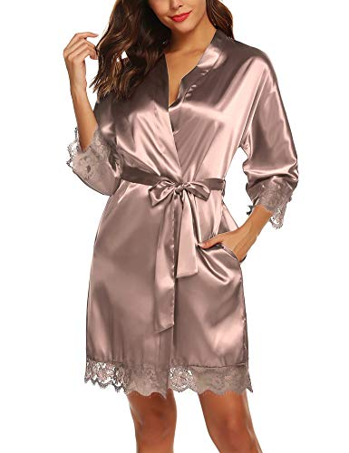 BESDEL Damen Kimono Roben Bademantel Satin Bademantel Nachthemd Oblique V-Ausschnitt Kimono Robe Taupe XL