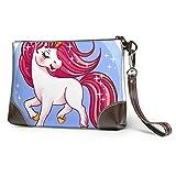 Yushg Billetera suave impermeable para niñas Billetera Hermosa Pony de dibujos animados para hombre Cartera de cuero con cremallera para mujeres Niñas