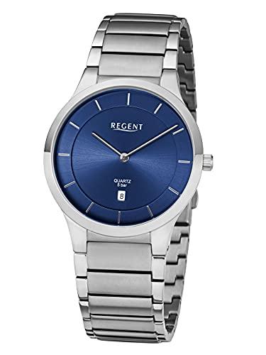 Regent Reloj de pulsera para hombre con eslabones de acero inoxidable, 39 mm de diámetro, plano, cuarzo, fecha, plata,