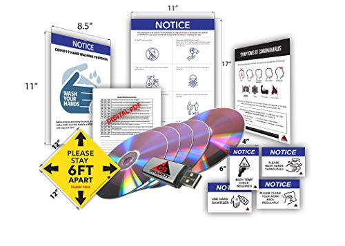 GOTSAFETY Coronavirus Prevention Workplace/Business Bundle: Includes 3 Posters, 10 Stickers, COVID-19 Inspection Form, and 17 Digital Training Lessons