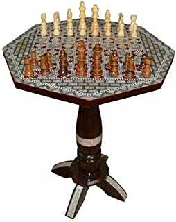 """Chess Game Table, 16"""" Wide Egyptian Mother of Pearl Inlay Coffee Side Table"""