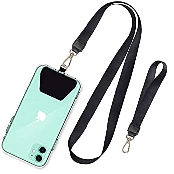 SHANSHUI Phone Lanyard Neck Strap and Wrist Tether Key Chain Holder Universal for Phone Case Anchor Fit All Smartphones-Black