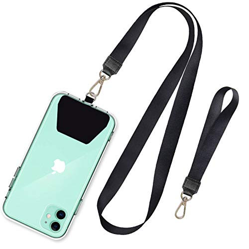 SHANSHUI Phone Lanyard, Neck Strap and Wrist Tether Key Chain Holder Universal for Phone Case Anchor Fit All Smartphones-Black