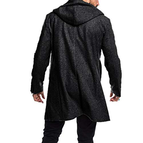 PRIJOUHE Men's Wool Coat Hoodie Long Trench Coat Cotton Casual Woollen Overcoat Jacket