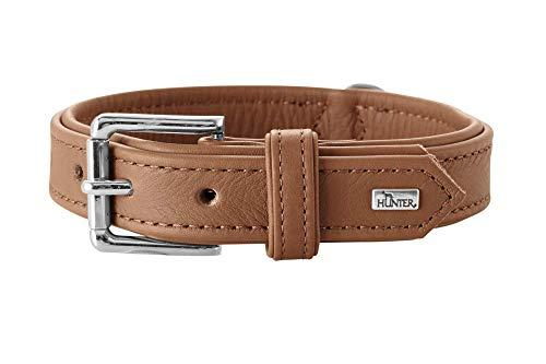 HUNTER MANITOBA Hundehalsband, Leder, Nappa, weich, geschmeidig, 55 (M), cognac