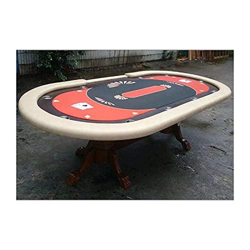 JLFFYJ Mesa de Póquer Mesa de Juego de Cartas Texas Blackjack Table, Paño de Grado Casino con Riel Acolchado Elegante y Resistente Al Agua con 10 Portavasos, 240x120x80cm, Naranja