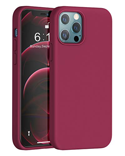 Anyos Compatible with iPhone 12 Case and iPhone 12 Pro Case 6.1 inch, Liquid Silicone Rubber Full Body Protective Phone Case with Soft Microfiber Cloth Lining for Women Men Girls Boys, Wine Red