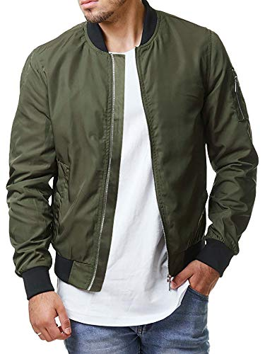 Enjoybuy Mens Lightweight Bomber Jackets Fall Winter Outerwear Full Zip Up Baseball Varsity Jacket (Large, Army Green)