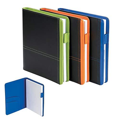 Portablocco in finta pelle Nero/Blue Formato A5