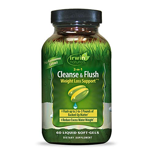 Irwin Natural 2-in-1 Cleanse & Flush Weight Loss Support Supplement - Gentle Waste Elimination & Regularity with Cascara, Milk Thistle, Gymnema - 60 Liquid Softgels