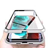Cover Magnetica Compatibile con iPhone 12/12 Pro, Adsorbimento Magnetica 360 Gradi Full Body, Double Face Vetro Trasparente, Custodia Magnetica Protettiva Compatibile con iPhone 12/6.1'-[Argento]