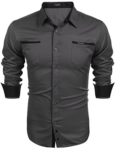 COOFANDY Herren Hemd Slim Fit Langarmhemd Freizeit Kentkragen Sommer Herren Hemden Business Party Shirt Für Männer Grau M