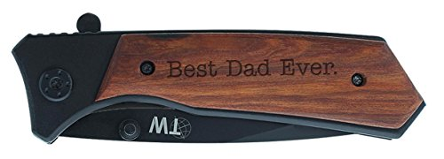 Personalized Gifts for Dad Best Dad Ever Laser Engraved Spring Assisted Tactical Knife Black Stainless Steel
