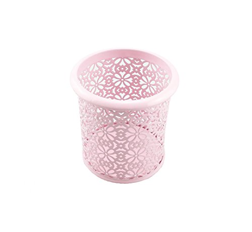 yueton Hollow Flower Pattern Metal Pen Pencil Makeup Brush Holder Desk Container Organizer (Pink)