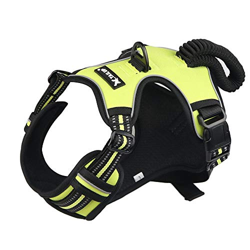 BEELED Dog Harness No Pull Adjustable Reflective Soft Vest Prevent Pulling and Choking Outdoor Pet Harness Easy Control Handle for Small Medium Large Dog (L, Green)