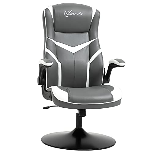 Vinsetto Gaming Chair Ergonomic Computer Chair with Adjustable Height Pedestal Base, Home Office Desk Chair PVC Leather Exclusive Swivel Chair Grey and White