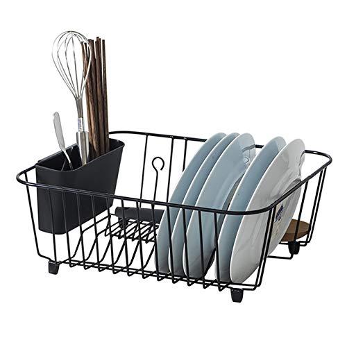 Haucy Escurreplatos de metal con caja de cubiertos para platos y cubiertos, 38 x 32 x 14,5 cm