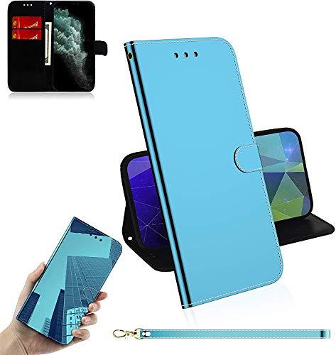 Sunrive Hülle Für Lenovo K6 Note, Magnetisch Schaltfläche Ledertasche Spiegel Schutzhülle Etui Leder Hülle Cover Handyhülle Tasche Schalen Lederhülle MEHRWEG(Blau)