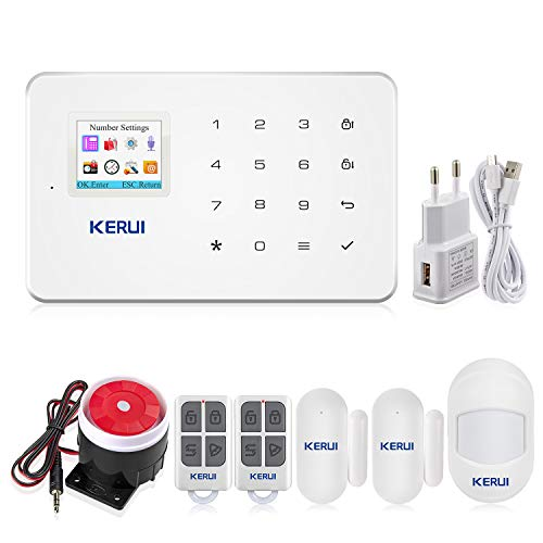 KERUI G18 gsm Sistema de Alarma Seguridad Casa por Call/SMS/App, Kits Alarma Antirrobo Inalámbrico DIY con Mini Detector/Sensor Movimiento de Alarma Puerta para Hogar/Tienda/Oficina/Autocaravana