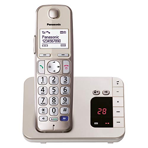 Panasonic KX-TGE220GN DECT Seniorentelefon mit Anrufbeantworter (schnurlos, hörgerätekompatibel, Großtastentelefon, strahlungsarm) champagner