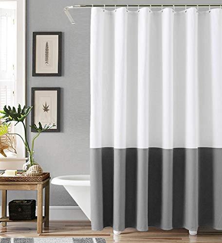 "Felisa Canvas Farmhouse Shower Curtain,100% Cotton Heavy Weight Rustic Shower Curtain for Bathroom,Gray and White,72""x72"""