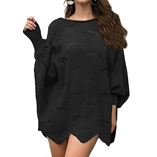 Pull pour femme avec crochet ajouré et fleur en tricot lâche Batman chemise - Noir - XL